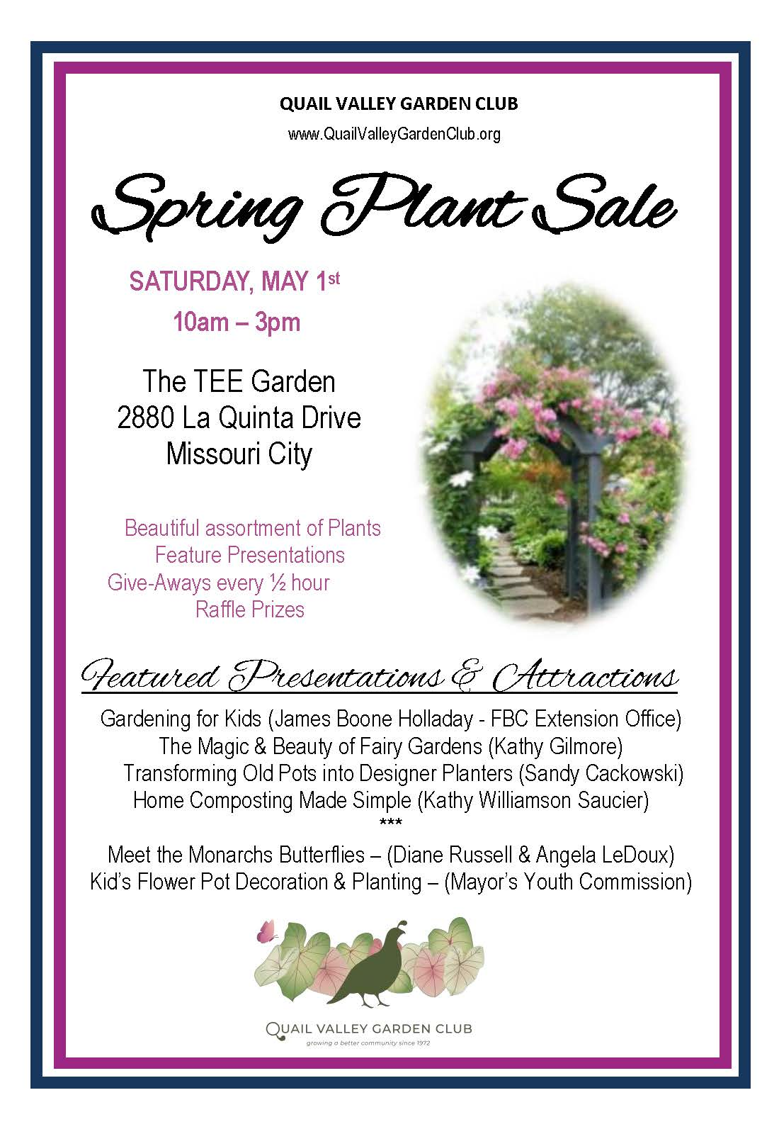 QV Garden Club Plant Sale may 1 2021