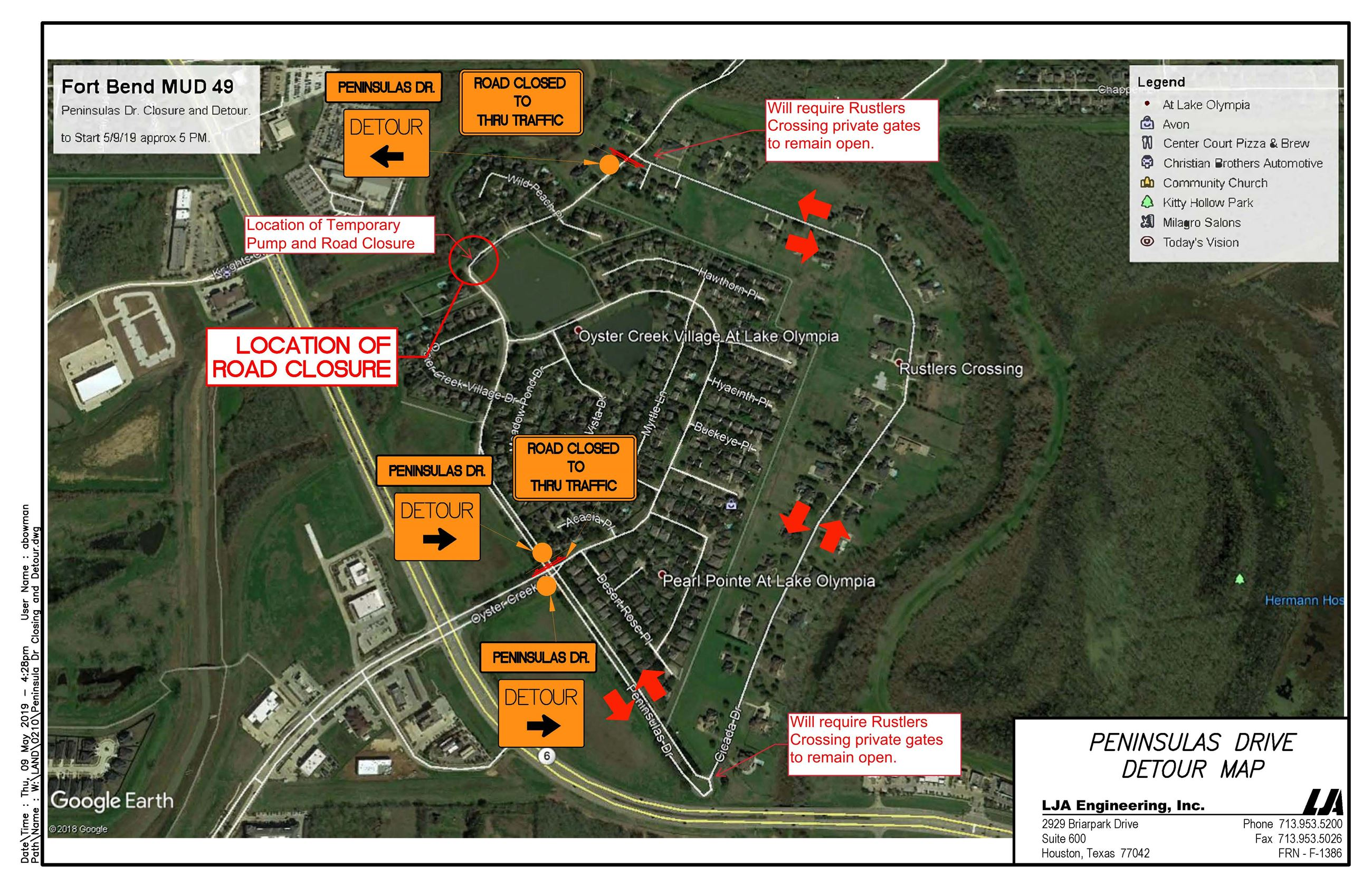Peninsula Dr Closing and Detour-Landscape
