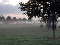 Community Park field with fog